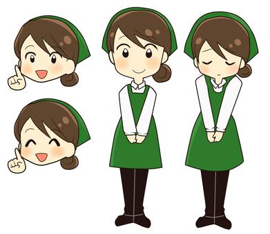 Female shop assistant green apron