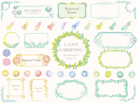 Colorful botanical frame set 1