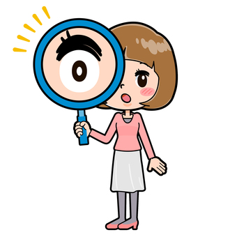 Pink clothes young woman magnifying glass