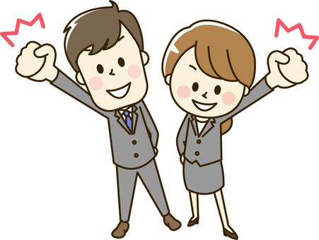 Male and female office worker wearing suit 2-6 o