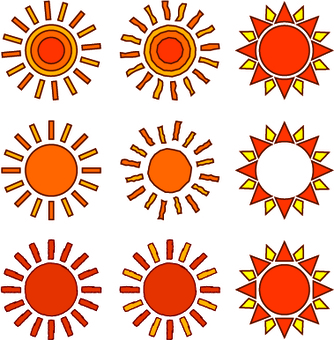 Illustration cut of sun / with line