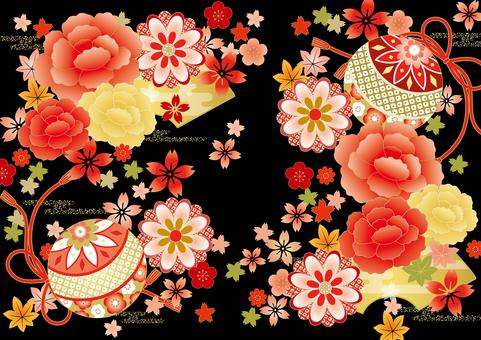 Botanical kimono pattern black