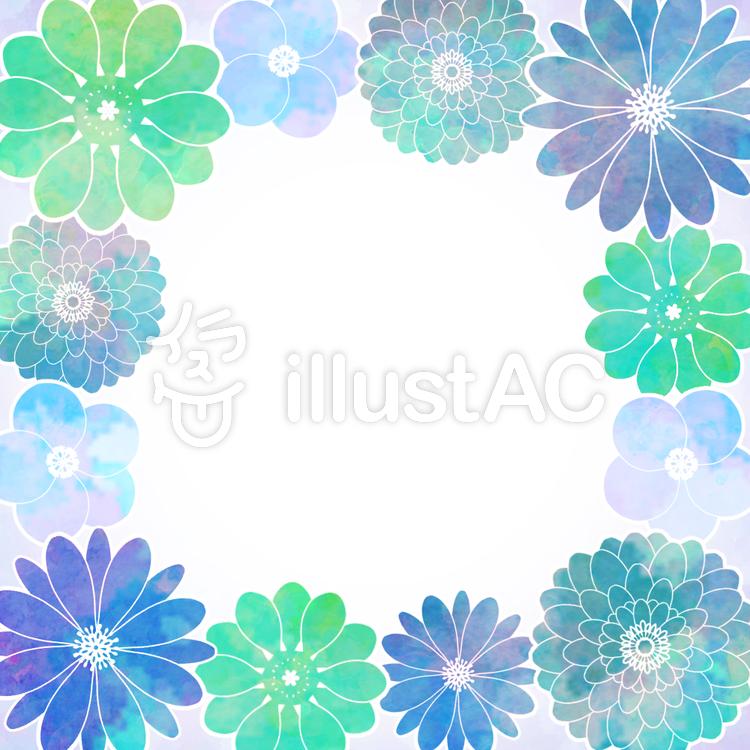 カラフル水彩花の寄せ書き色紙フレームイラスト No 1402129無料