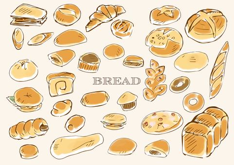 Hand drawn bread line drawing color