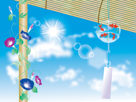 Wind chimes and morning glory