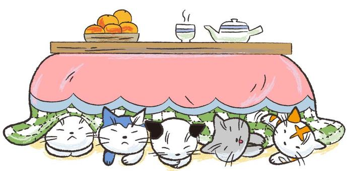 Five cats going over the kotatsu