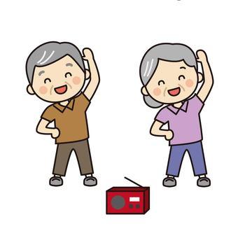 Grandpa Grandma doing radio exercises