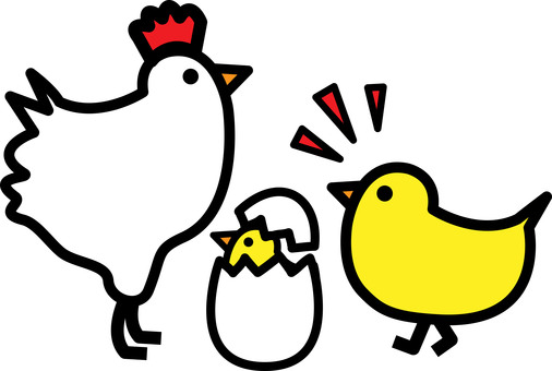 Chickens and eggs and chicks