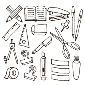 Stationery illustration set linework