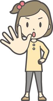 Girl yellow long sleeve -085-whole body
