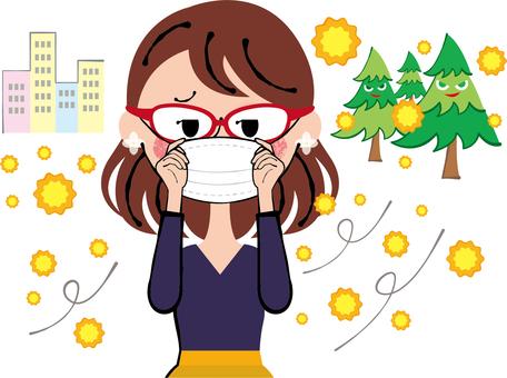 Stereoscopic masks for eyeglasses Hay fever prevention Wobbling women