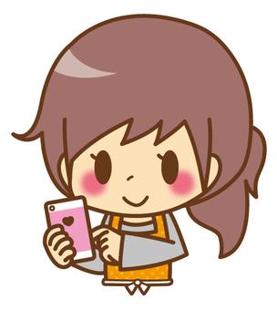 Female * Apron _ smartphone