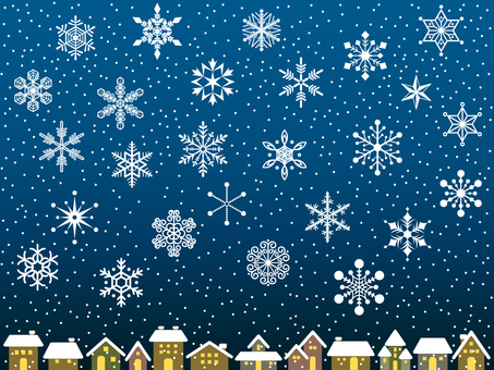 色々な雪の結晶のセット