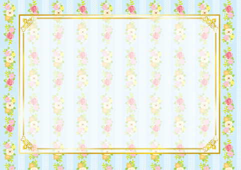Flower pattern frame (light blue)