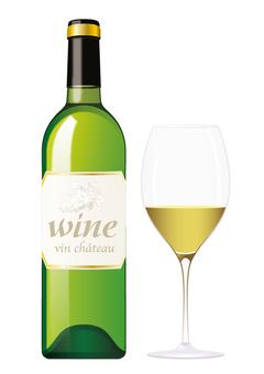 Wine bottle & glass _ white