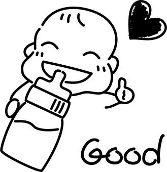 Hand drawn rough-baby drinking milk
