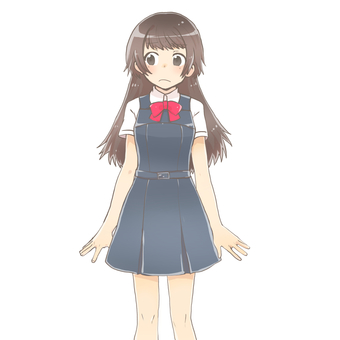 Uniform girl standing picture (anger)