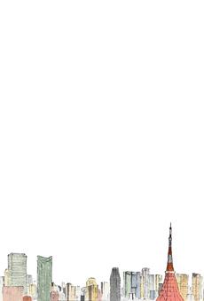 도쿄 타워 엽서 (투명) 세로