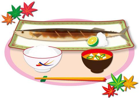Autumn sweetfish (salt-roasted set-meal of autumn sweetfish)