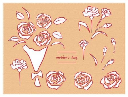 Hand drawn mother's day 2 set red line white background bouquet