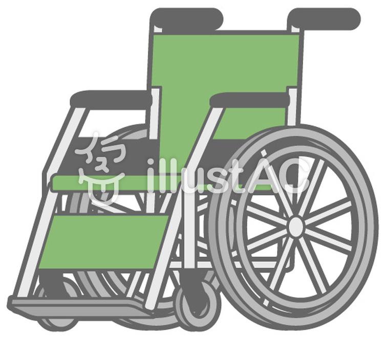 車椅子-緑のイラスト