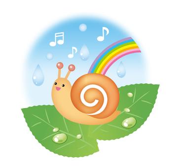 Snail and rain and rainbow