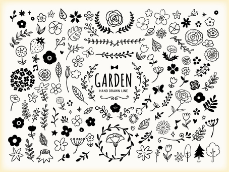 Spring flowers and plants hand drawn line art illustration
