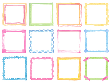 Watercolor frame set 3