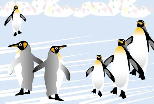 A cool north pole illustration of the penguin ice world