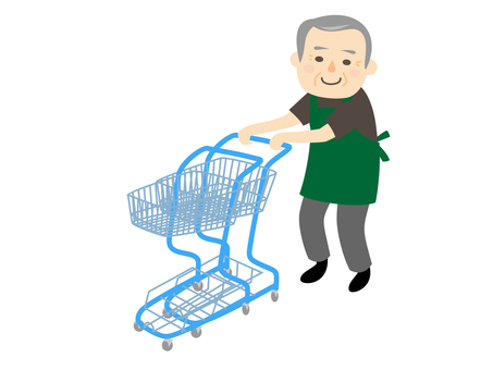 Male staff cleaning up shopping cart