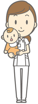 Female nurse - hug - full body