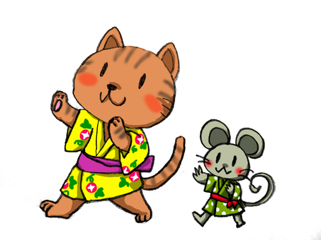 Bon dance of cat and mouse