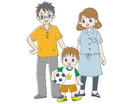 가족 3 명