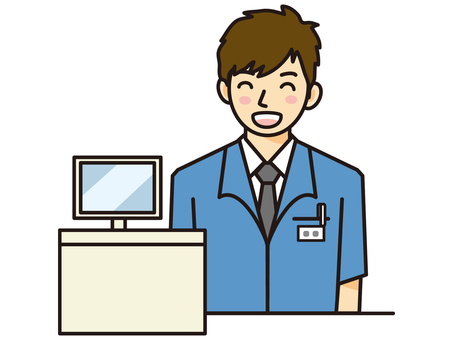 Cash register staff / man