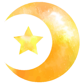 Watercolor Moon and Star Orange