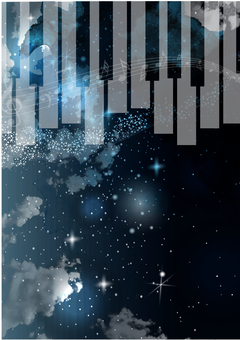 Night sky and keyboard