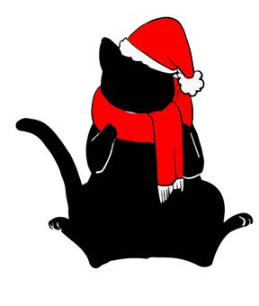 Black cat silhouette Santa