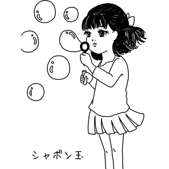 Soap bubble and girl coloring page