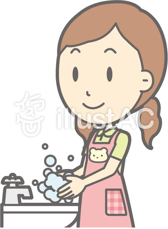 保育士女性-手洗い-バストのイラスト