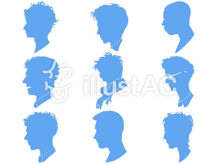 顔-男性-シルエットのイラスト