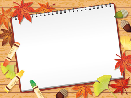 Sketchbooks and crayons and fallen leaves Background A