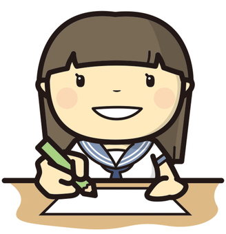 Girl student studying