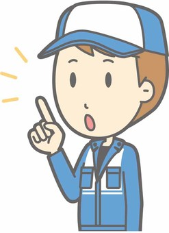 Mechanic male a - finger-pointing diagonal left - bust