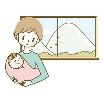 아기를 안고 여성