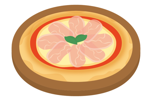 Pizza raw ham