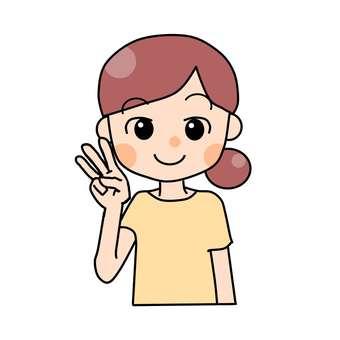 Girl making three fingers