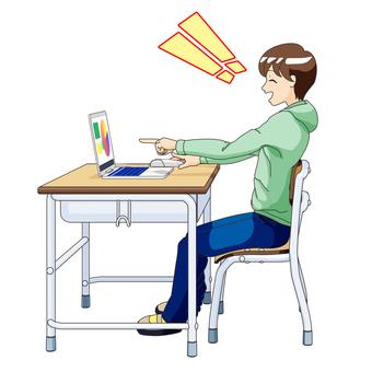 남자 초등학생 컴퓨터 수업 4 : 알고 기뻐