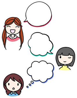 Speech bubble with three girls