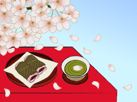 Japanese style cherry tree and cherry mochi