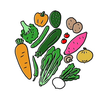 Illustration material of vegetables ・ Cute hand-painted